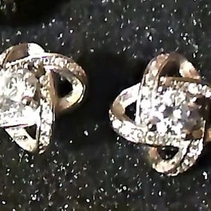 Sterling CZ stud earrings.